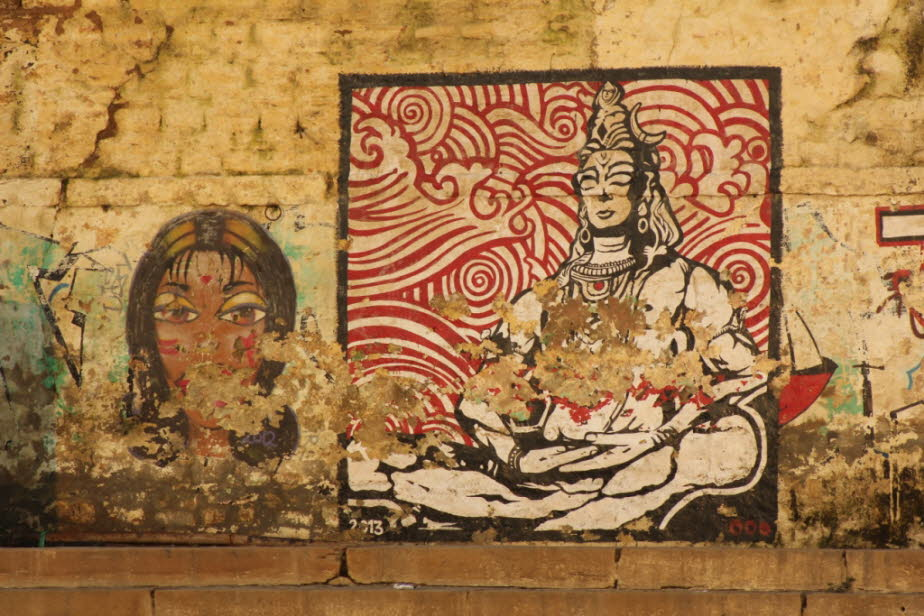 Streetart Varanasi am Ganges